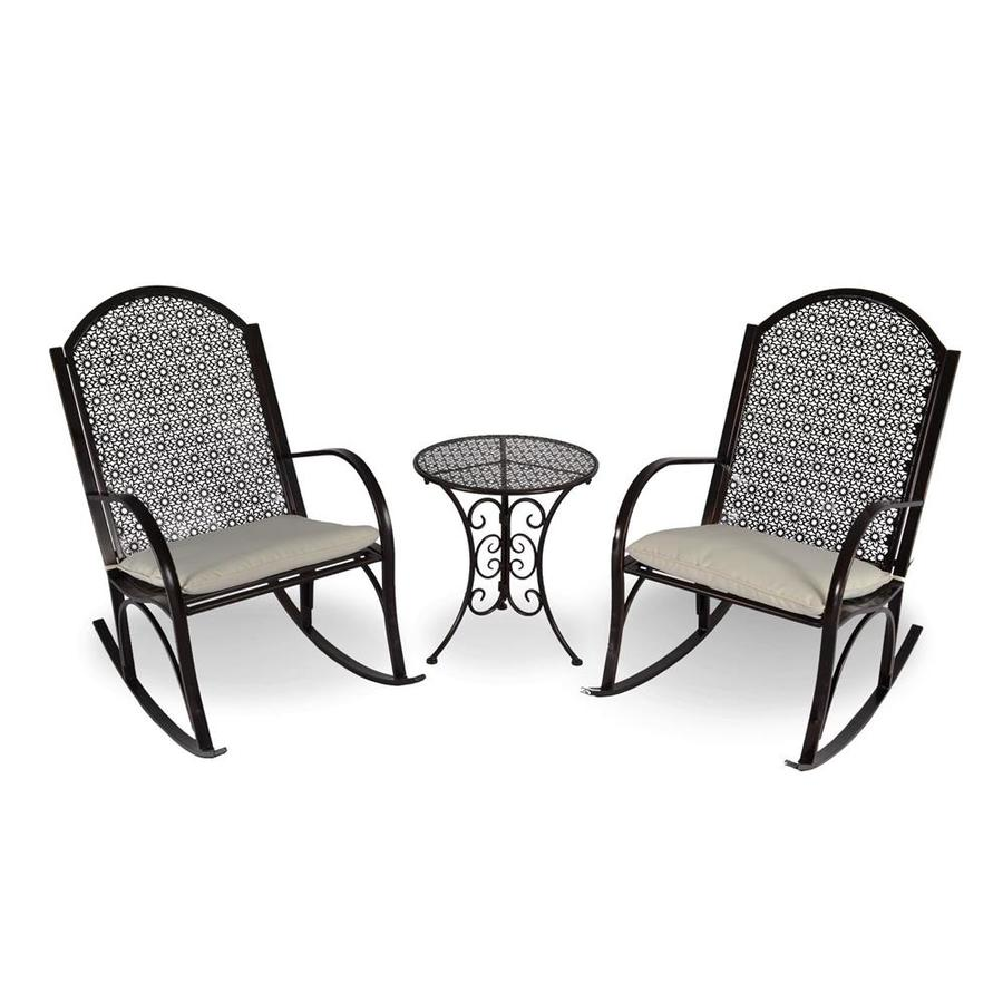 Tortuga Outdoor Garden Rocker 3 Piece Steel Frame Patio Conversation Set  With Ivory Cushions