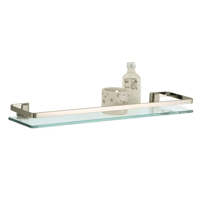Organize It All Nickel Glass Bathroom Shelf In The Bathroom Shelves Department At Lowes Com