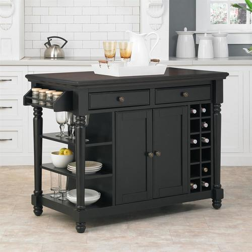 home styles black casual kitchen island in the kitchen