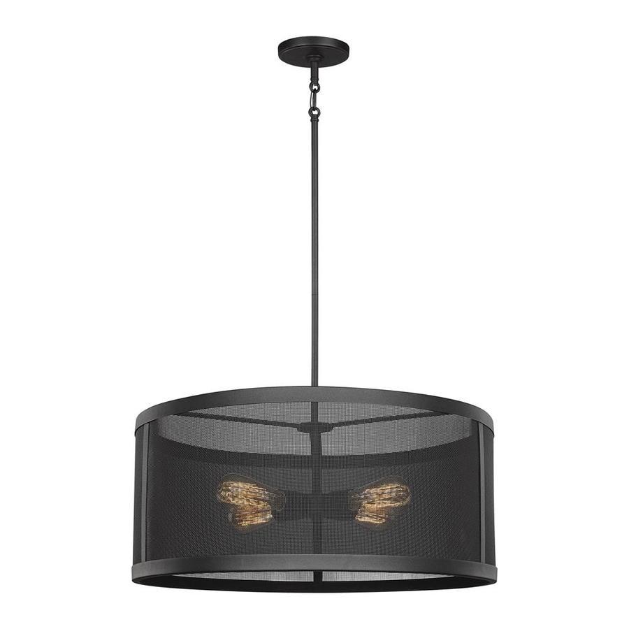 Sea Gull Lighting Gereon Black Industrial Drum Pendant At
