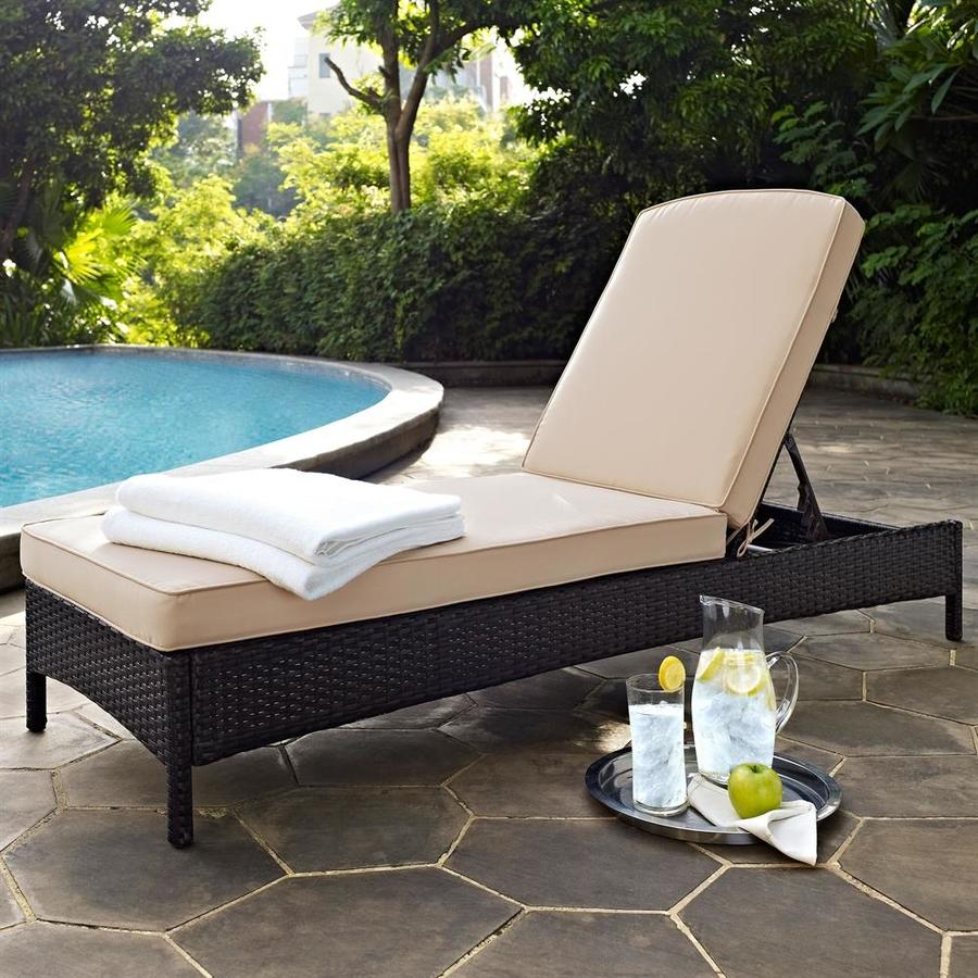 Crosley Furniture Palm Harbor Wicker Steel Chaise Lounge Chair with Sand  Cushion - Crosley Furniture Palm Harbor Wicker Steel Chaise Lounge Chair With