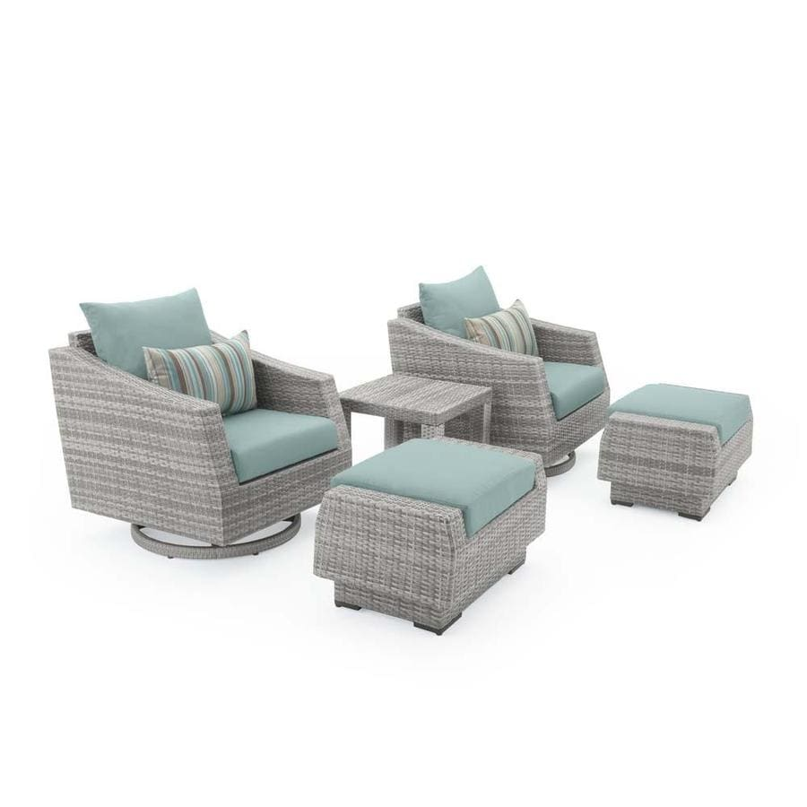 RST Brands Cannes 5 Piece Motion Club Chair And Ottoman Set