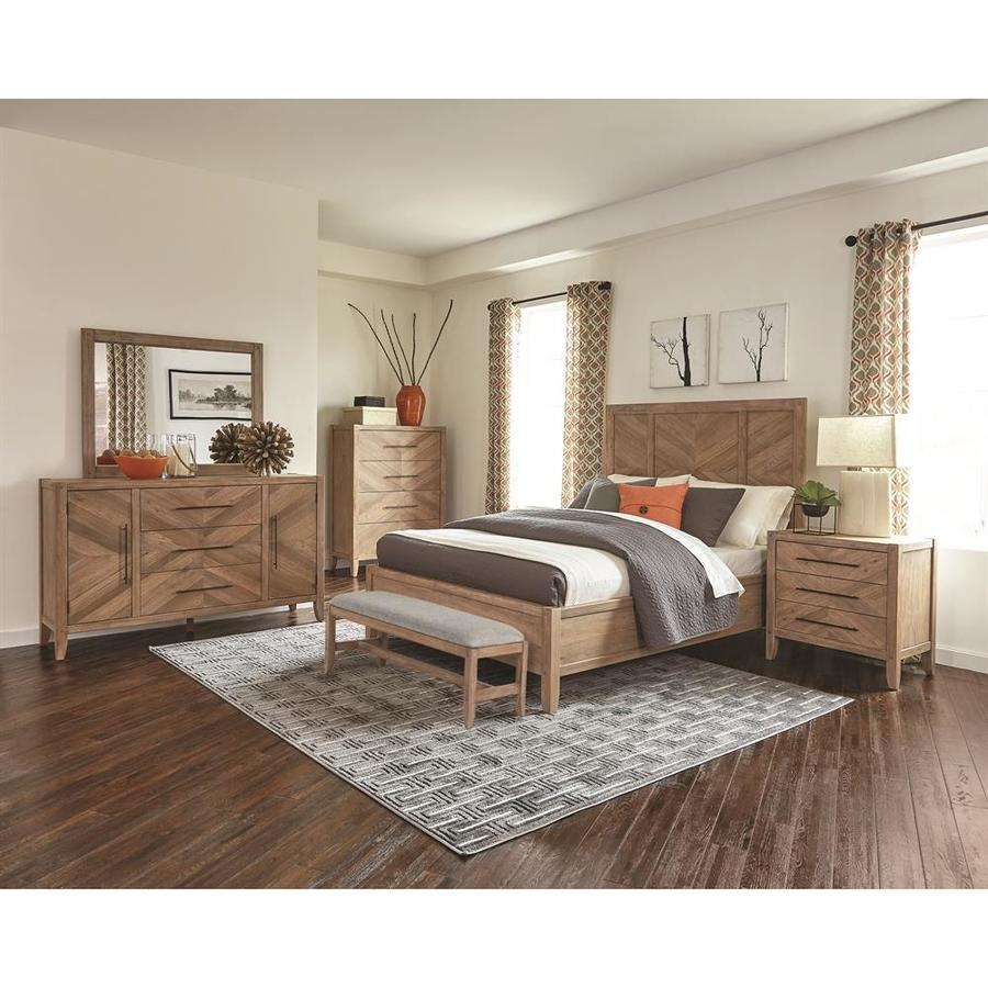 Scott Living Auburn White Washed Natural King Bedroom Set