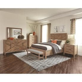 Scott Living Auburn White Washed Natural King Bedroom Set