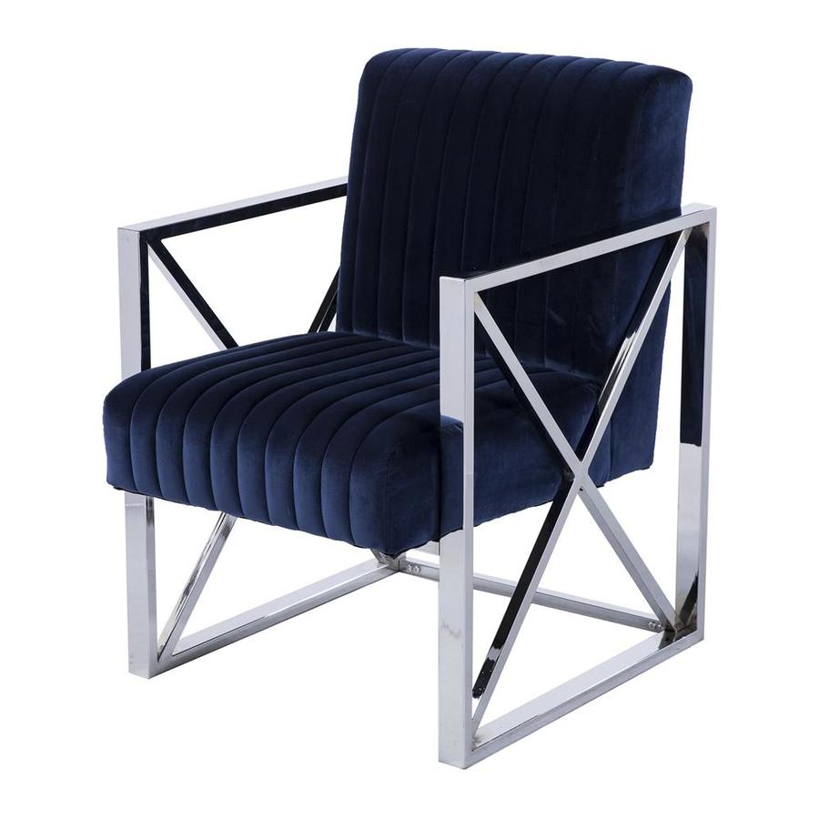 Blue Modern Accent Chairs.Boston Loft Furnishings Exley Modern Chrome Rich Blue Velvet Accent