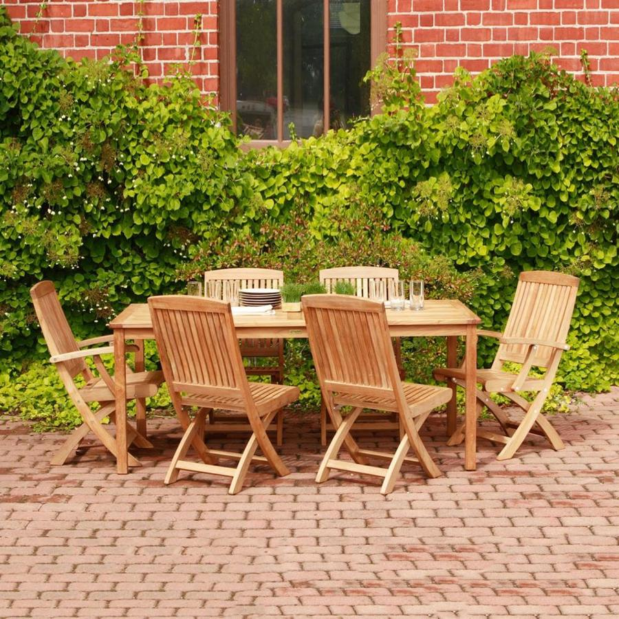 Three Birds Casual Braxton/Brunswick 7 Piece Brown Wood Frame Patio Set
