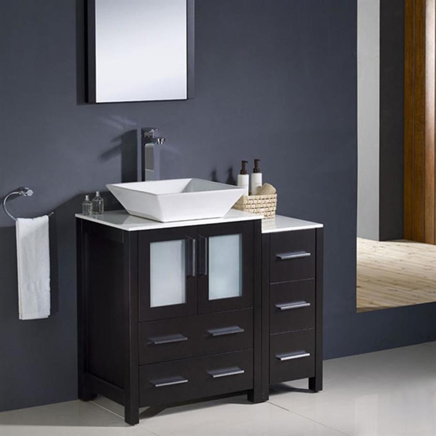 Shop Fresca Torino Espresso 36.0 Vessel Single sink Bathroom Vanity ...