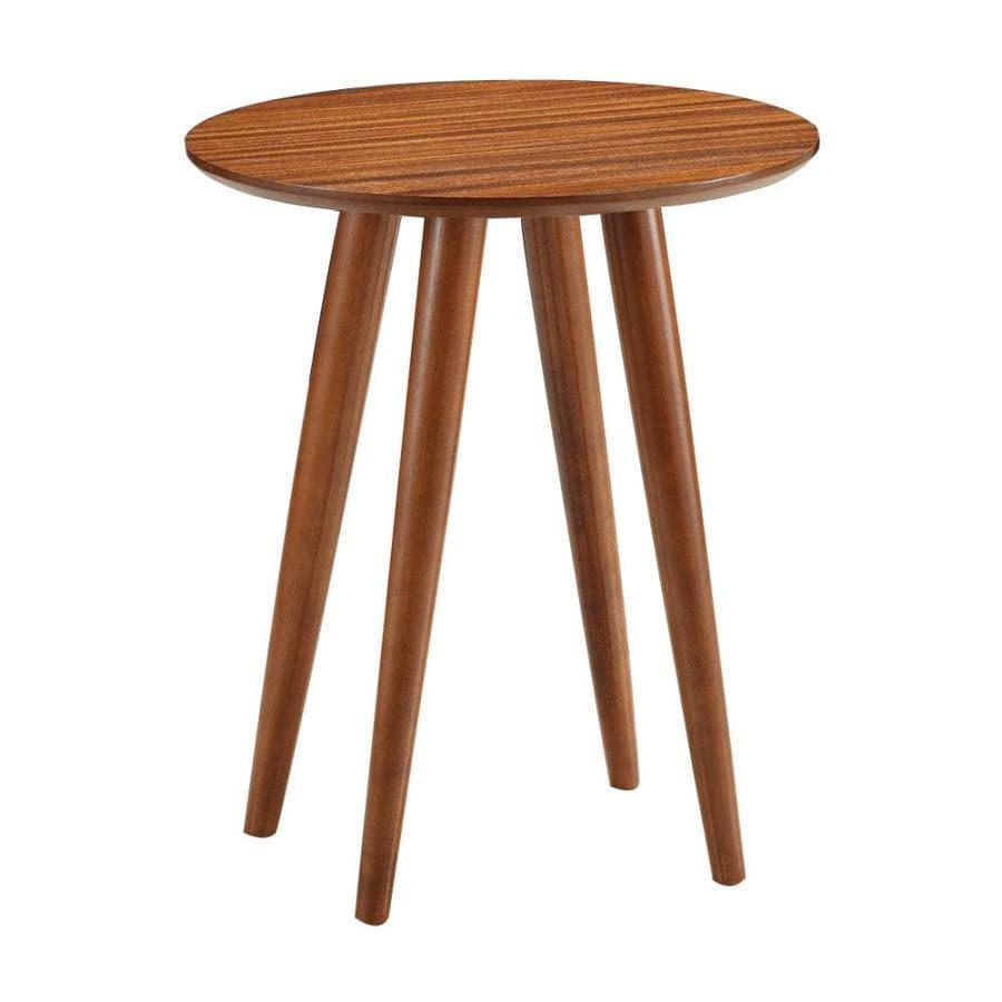 Boraam Industries Zebra Rich Walnut Wood Veneer Midcentury End Table