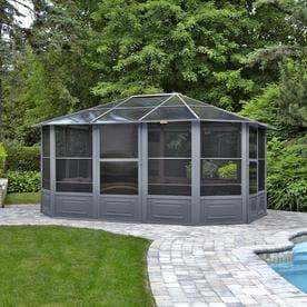 gazebo penguin all seasons solarium grey metal octagon screened gazebo exterior 15 - Metal Roof Gazebo
