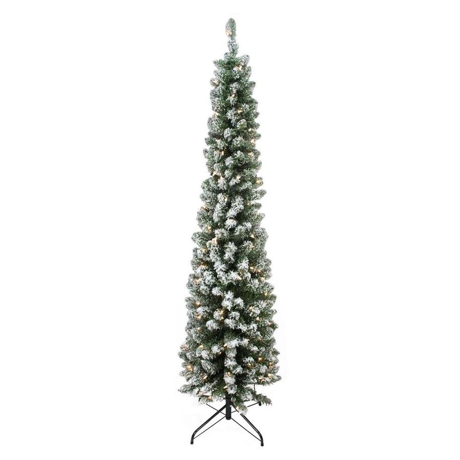 Shop Northlight 6-ft Pre-lit Pencil Pine Slim Flocked Artificial ...