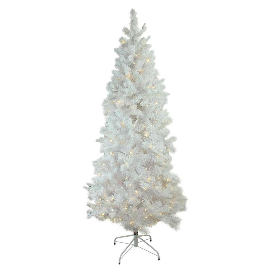 northlight 9 ft pre lit slim flocked artificial christmas tree with 550 constant white