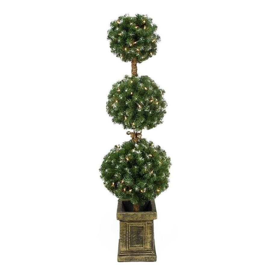 Northlight 4.5-ft Pre-lit Triple Ball Topiary Slim ...