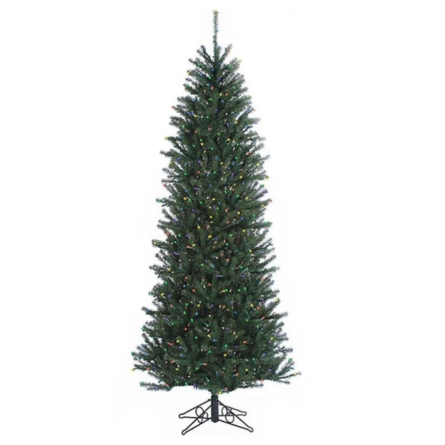 northlight 12 ft pre lit slim artificial christmas tree with 2700 constant multicolor incandescent