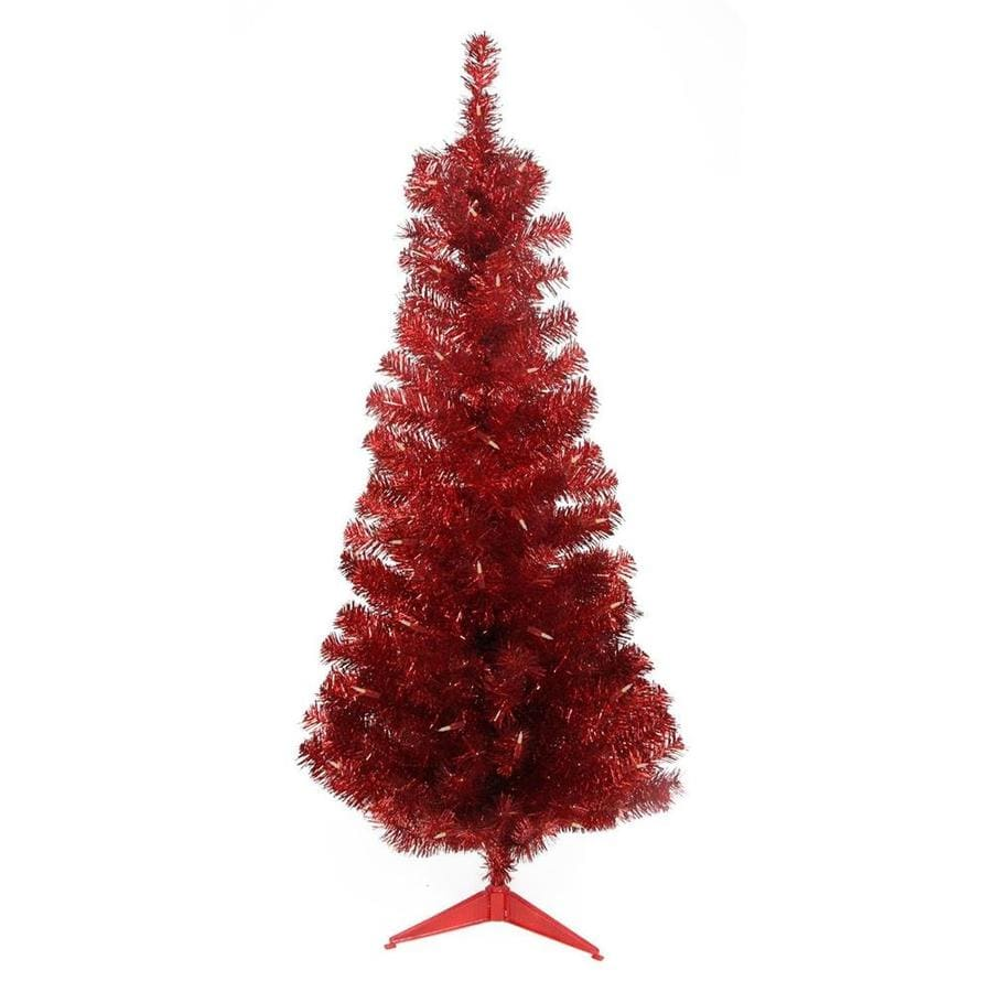 4 Ft White Christmas Trees Artificial: Northlight 4-ft Pre-lit Tinsel Slim Artificial Christmas