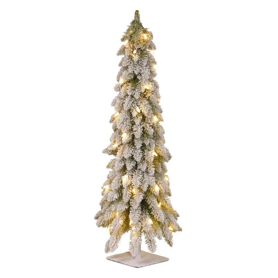 national tree company 4 ft pre lit slim flocked artificial christmas tree with 100
