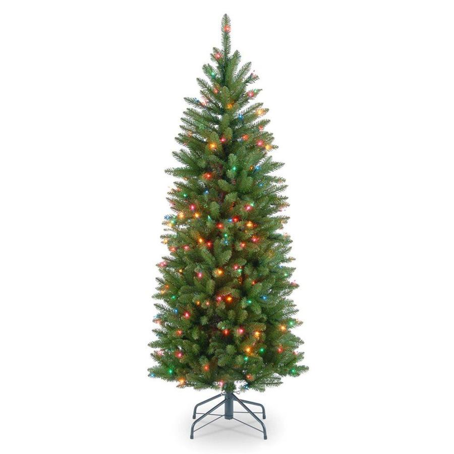 Shop National Tree Company 4.5-ft Pre-lit Slim Artificial Christmas ...