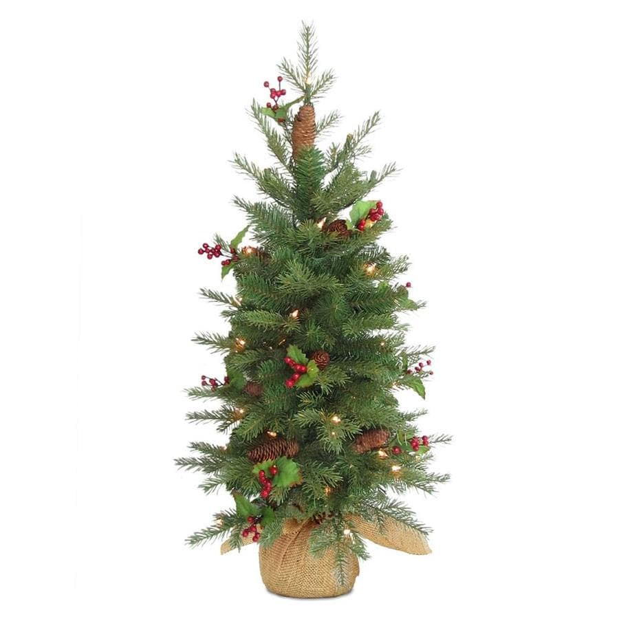 national tree company 3 ft pre lit nordic spruce tree with battery operated warm