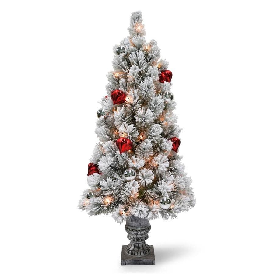 Shop National Tree Company 3-ft Pre-lit Slim Flocked Artificial ...
