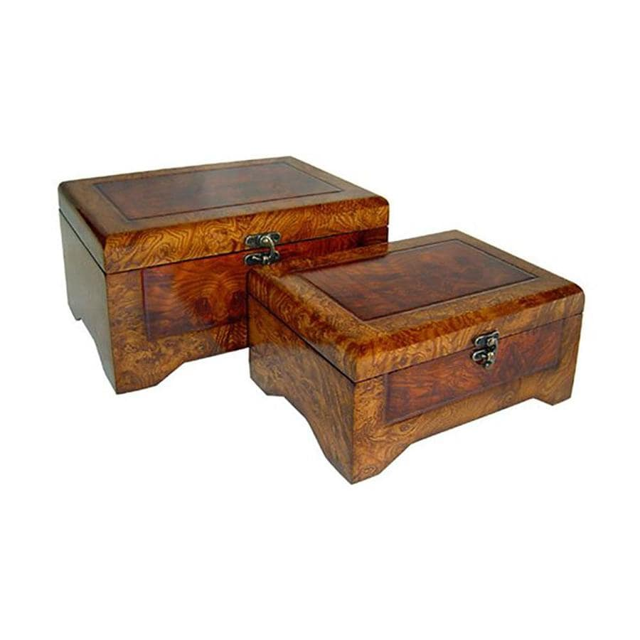 Cheung S Wooden Rectangular Small Lined Decorative Boxes Set Of 2 At