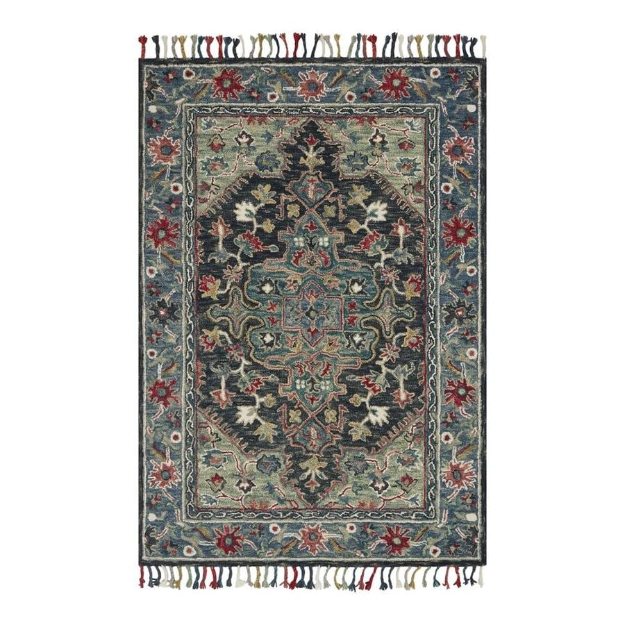 Loloi zharah navy indoor oriental area rug common 7 x 9 actual 7 75 ft w x 9 75 ft l