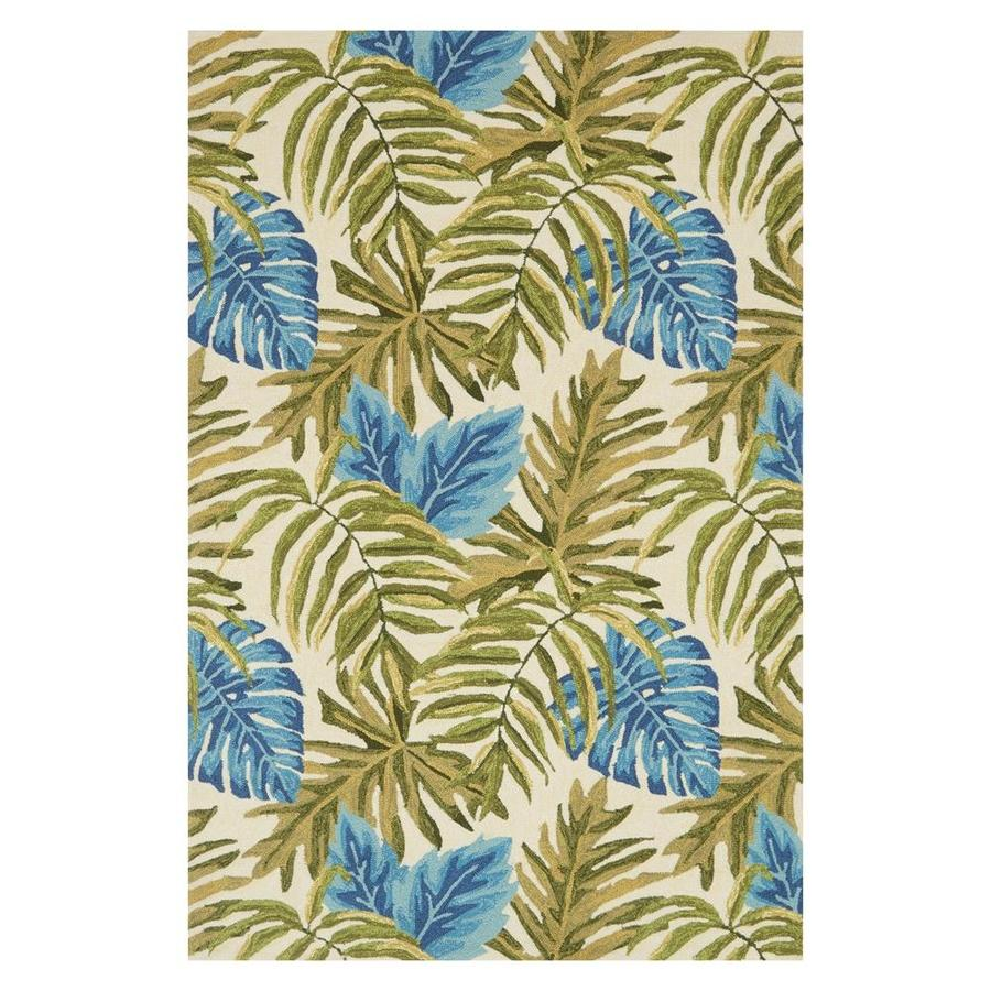 Loloi Venice Beach Ivory Green Indoor Outdoor Handcrafted Coastal Area Rug Common