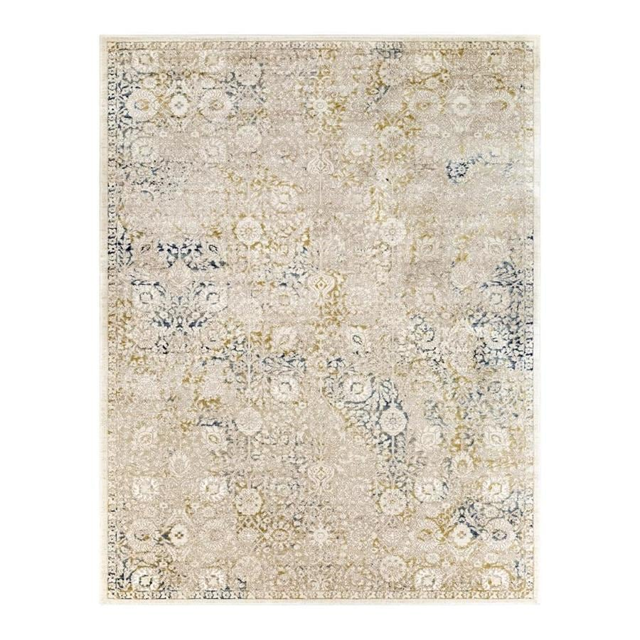 Surya Palermo Taupe Aqua Round Indoor Area Rug Common 2 X 3