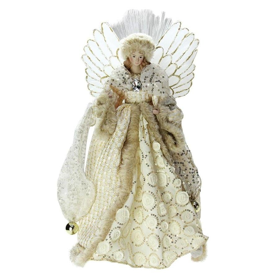 northlight 16 in pre lit battery operated fiber optic angel in golden sequined - Battery Operated Christmas Tree