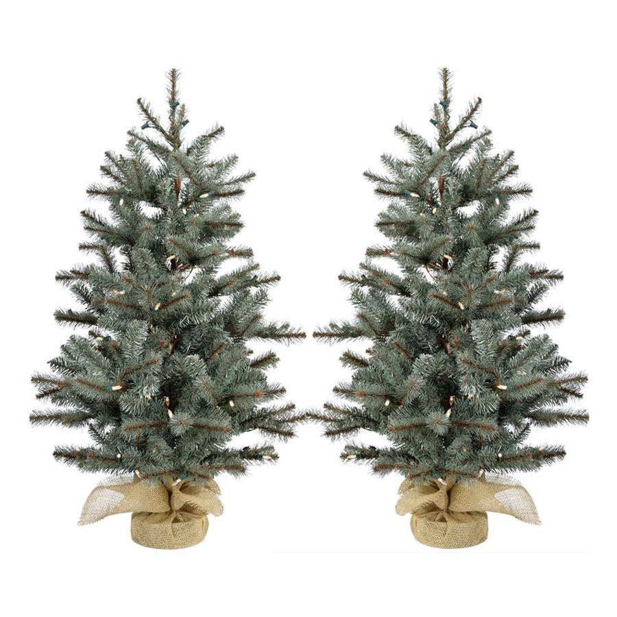 1e1763275ab Fraser Hill Farm 2-ft Pre-lit Classic Pine Artificial Christmas Tree with  50 Multi-function White Clear LED Lights