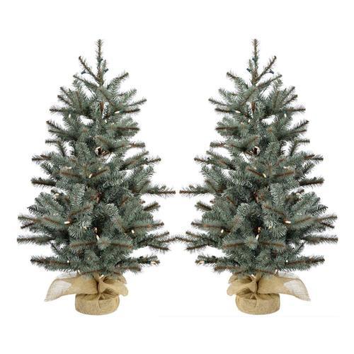 2 Ft White Christmas Tree: Fraser Hill Farm 2-ft Pre-lit Classic Pine Artificial
