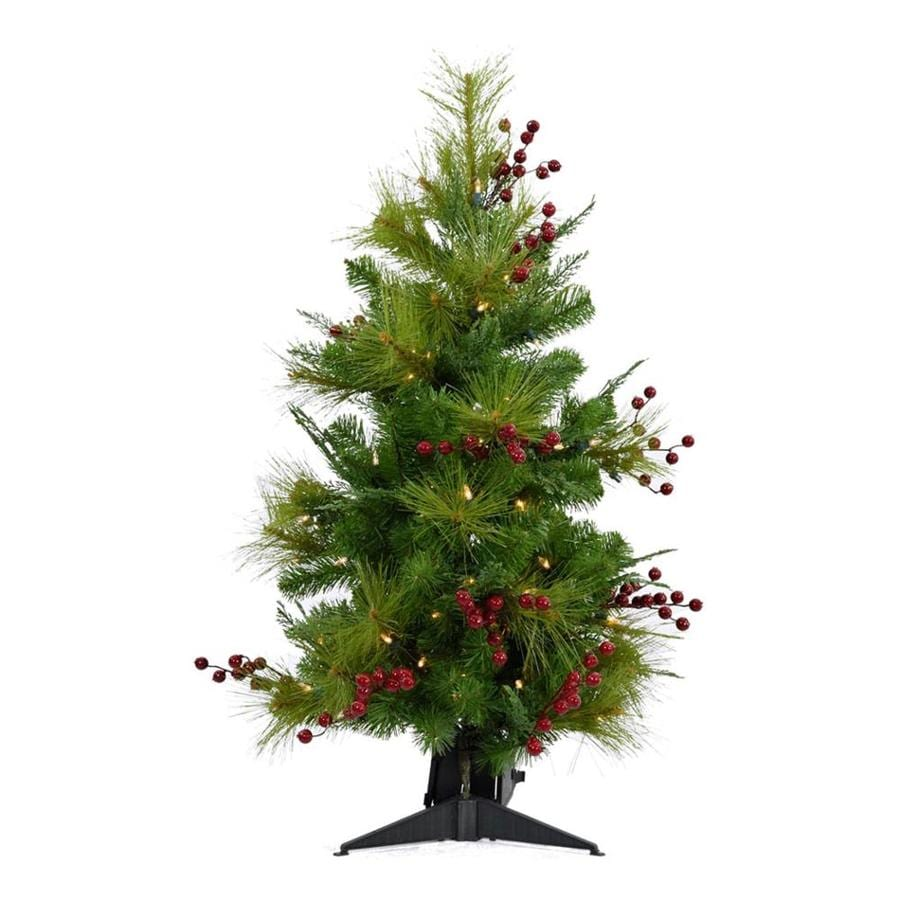 4edce2abb4b Fraser Hill Farm 3-ft Pre-lit Classic Pine Artificial Christmas Tree with  100 Multi-function White Clear LED Lights