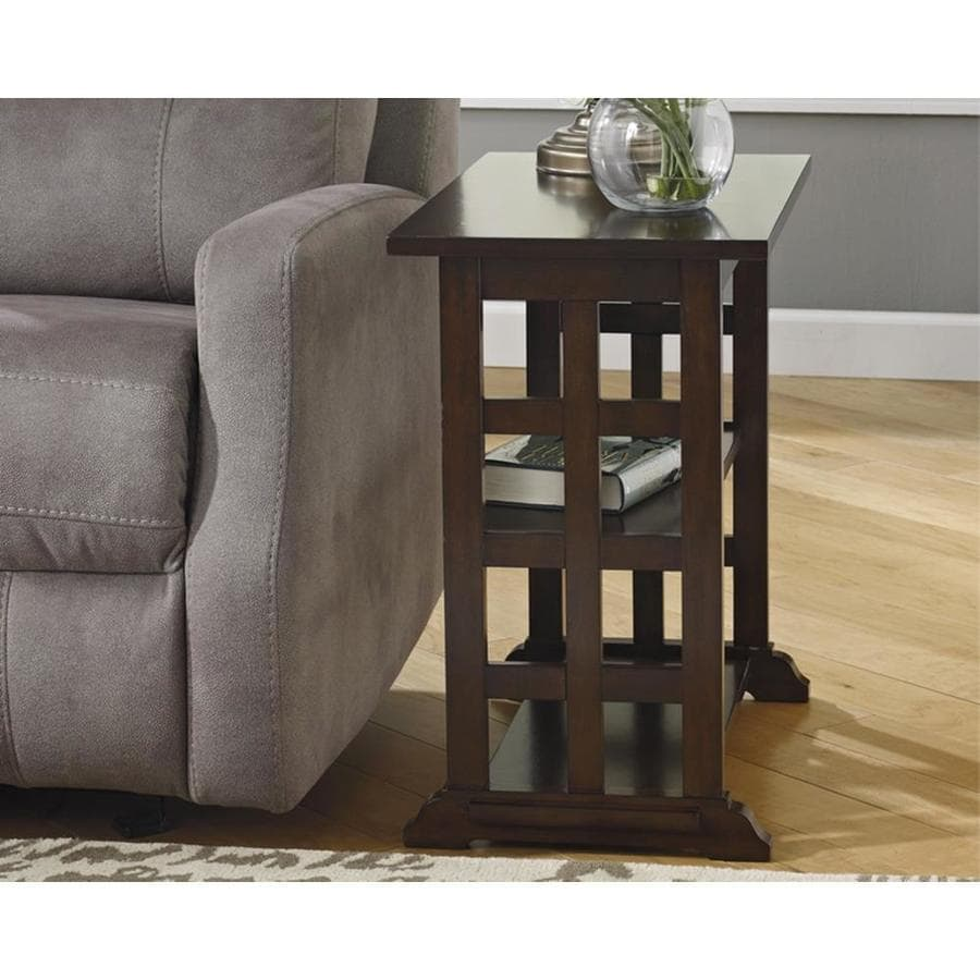 Signature design by ashley braunsen brown wood veneer end table