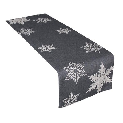 XIA Home Fashions Glisten Snowflake Embroidered Christmas