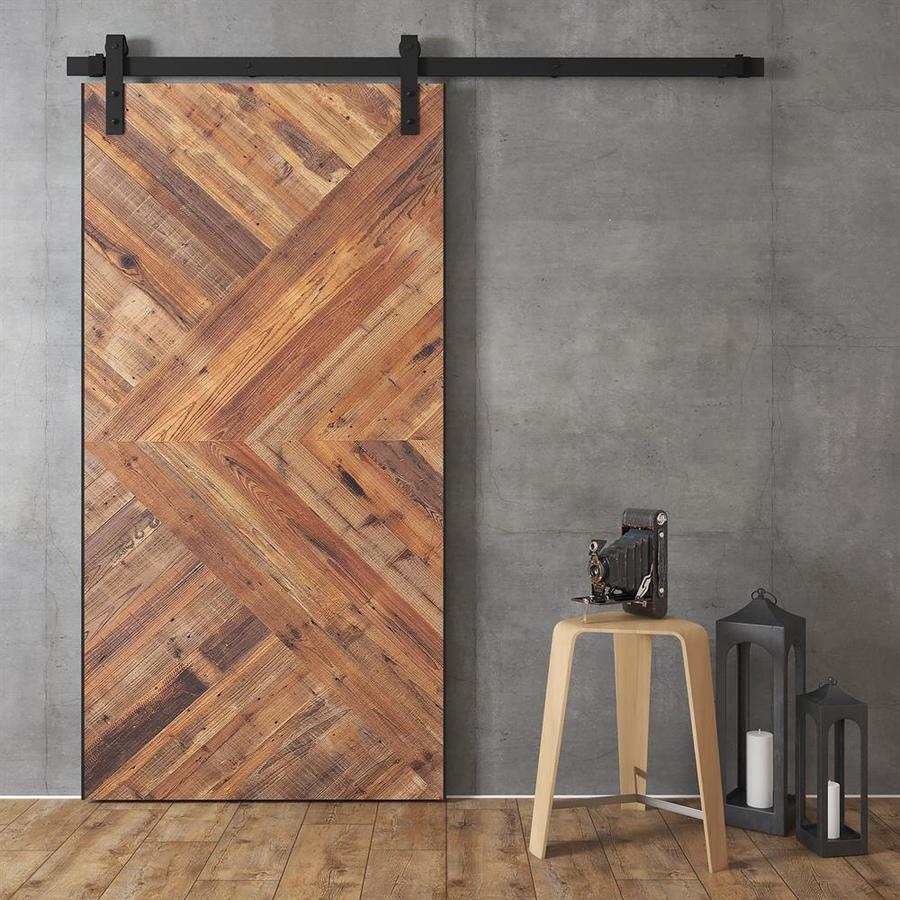 Urban Woodcraft Moncton Natural Unfinished Plank Reclaimed Wood Fir Barn  Door Kit Hardware Included (Common: 40 In X 83 In; Actual: 40 In X 83 In)