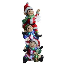 national tree company 59 in stacking elves holding snowflake with 50 multicolor led lights