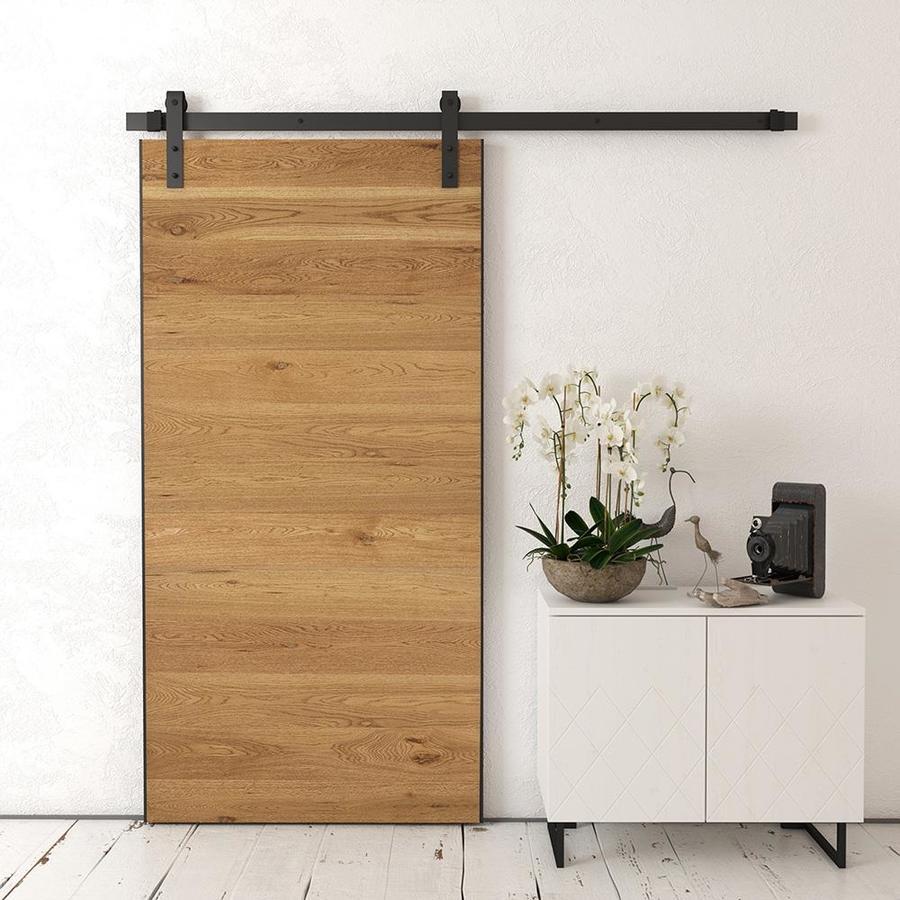 Urban Woodcraft Oak Panel Prefinished Flush Wood Oak Barn Door Kit