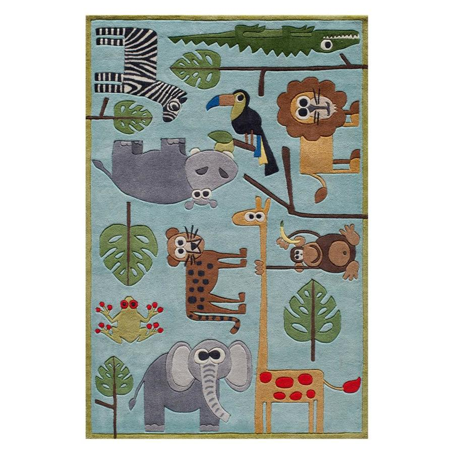 Momeni Lil Mo Whimsy Blue Indoor Handcrafted Animals Area Rug Common 5 X 7 Actual Ft W L