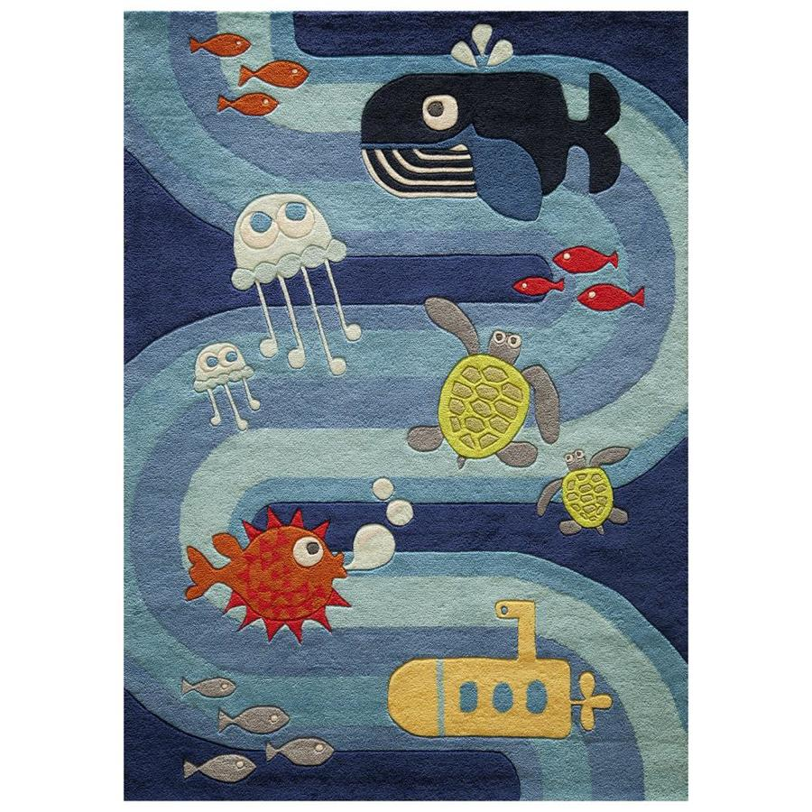 Momeni Lil Mo Whimsy Blue Indoor Handcrafted Animals Area Rug