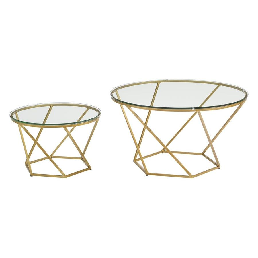 Walker Edison Geometric Glass Coffee Table Set At Lowes.com