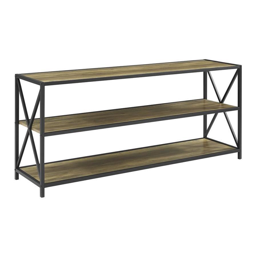 Walker Edison Rustic Oak 60 0 W X 26 0 H X 16 0 D 2 Shelf Bookcase