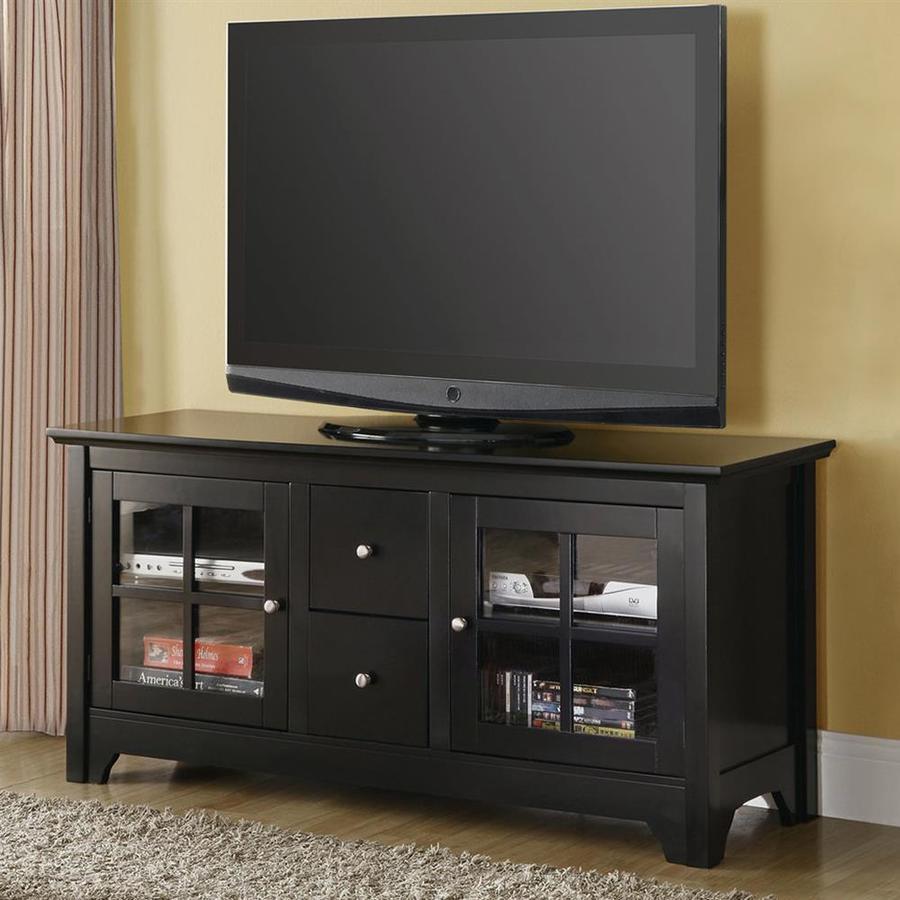 Walker Edison Black Rectangular Tv Cabinet At Lowes Com