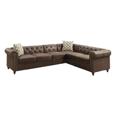Groovy Poundex Vintage Dark Coffee Faux Leather Sectional At Lowes Com Cjindustries Chair Design For Home Cjindustriesco