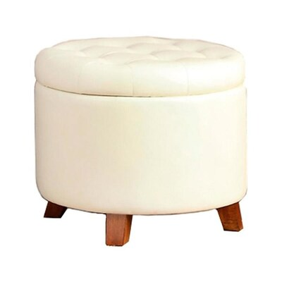 Brilliant Poundex Casual White Faux Leather Round Storage Ottoman At Ibusinesslaw Wood Chair Design Ideas Ibusinesslaworg