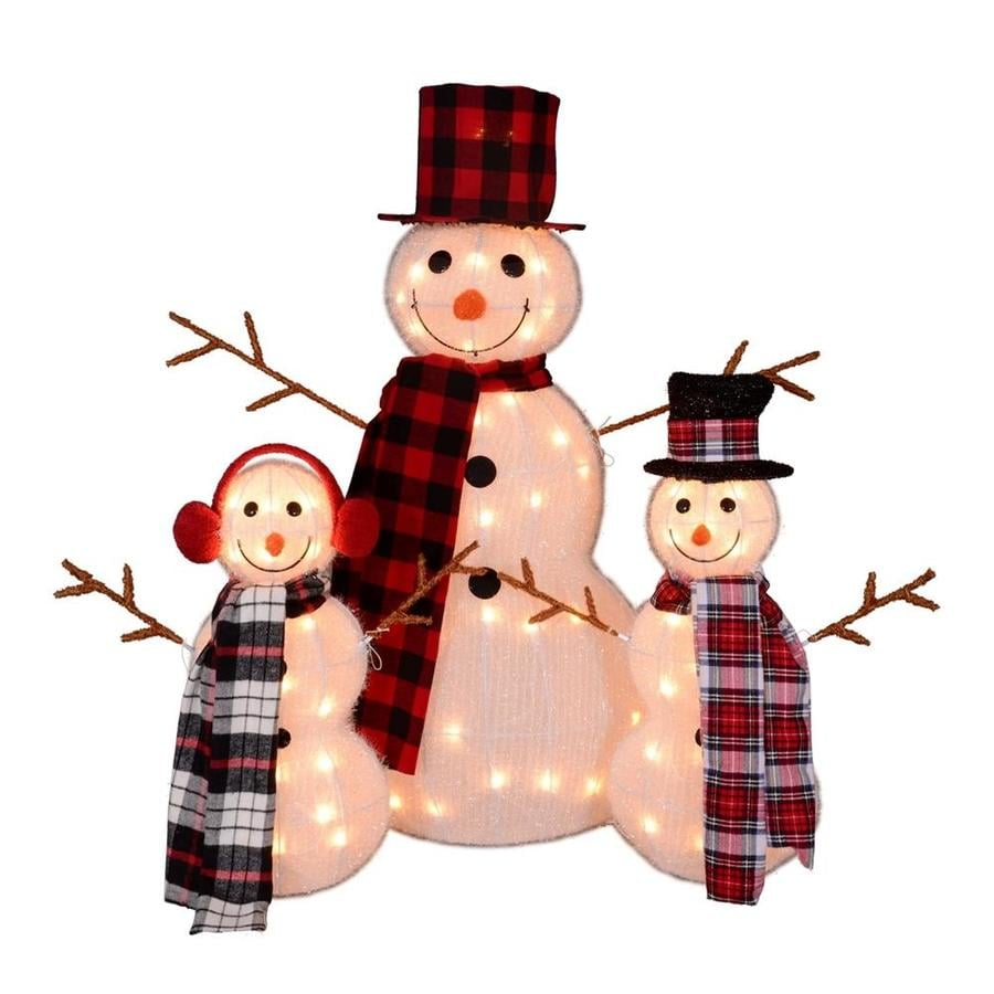 Outdoor Christmas Decorations Images: Northlight Set Of 3 Lighted Tinsel Snowman Family