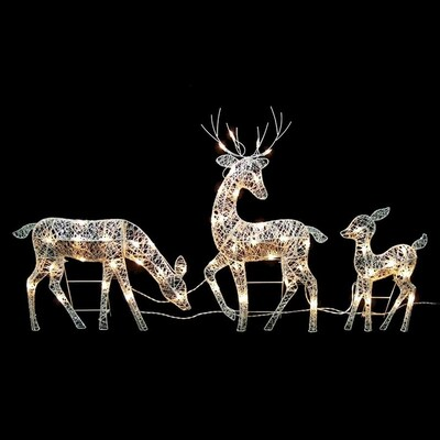 Northlight Set Of 3 White Glittered Doe Fawn And Reindeer