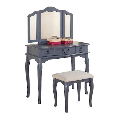 Terrific Poundex Bobkona Susana Tri Fold Mirror Vanity Table And Gmtry Best Dining Table And Chair Ideas Images Gmtryco