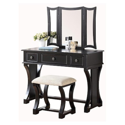 Amazing Poundex Bobkona Edna Vanity Set With Stool At Lowes Com Pabps2019 Chair Design Images Pabps2019Com