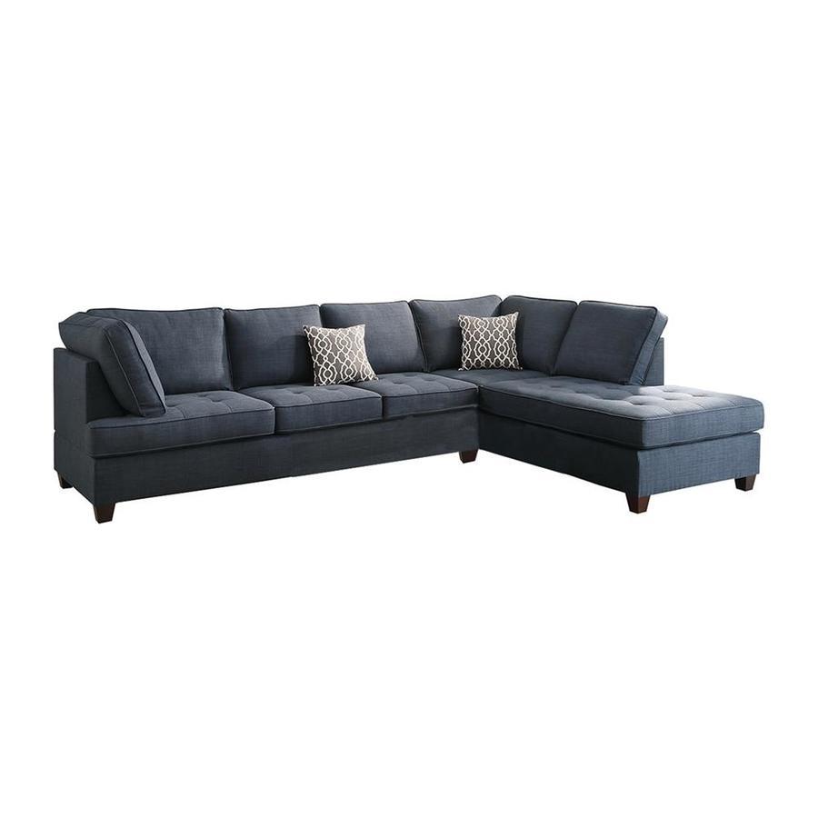 Poundex Sectional White Leather Sofa Chaise: Poundex Bobkona Kemen Linen-Like Poly Fabric Reversible