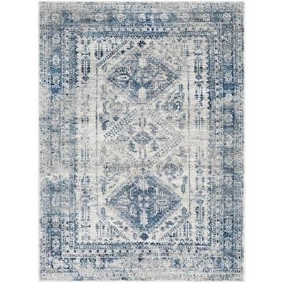 Surya Monte Carlo Blue White Indoor Oriental Area Rug Common 5 X