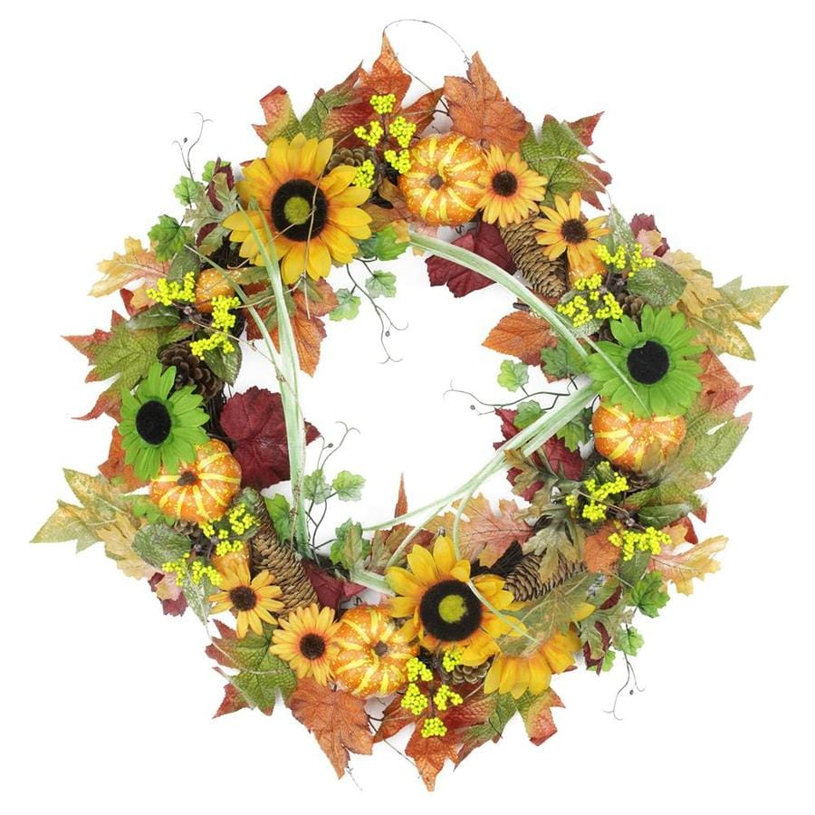 Northlight 24 In Autumn Mixed Leaf Flowers Pine Cones And Pumpkin Artificial Thanksgiving Wreath Unlit In The Artificial Fall Wreaths Department At Lowes Com