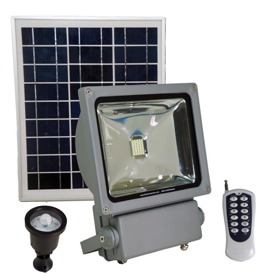 Solar Goes Green 330 Lumen 100 Watt Gray Low Voltage Solar Led Flood Light Motion Sensor In The Spot Flood Lights Department At Lowes Com